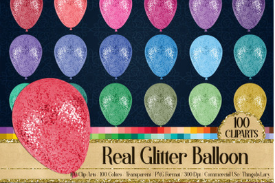 100 Real Glitter Balloons Party Baby Shower Digital Cliparts