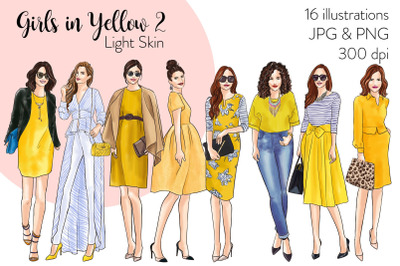 Watercolor Fashion Clipart - Girls in Yellow 2 - Light Skin