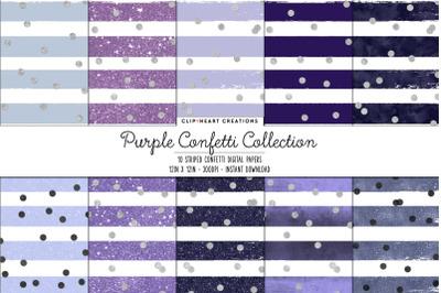 Purple Stripe & SilverConfetti Digital Papers