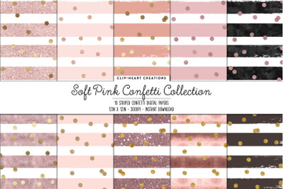 Soft Pink Stripe & Gold Confetti Digital Papers