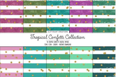 Tropical Colored Stripe & Gold Confetti Digital Papers