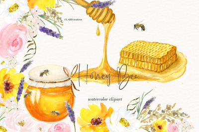Watercolor Honey Bee Clipart. Honey combs and hives.