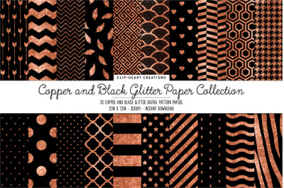 Black and Copper Glitter Digital Papers