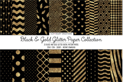 Black and Gold Glitter Digital Papers