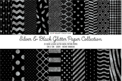 Silver and Black Glitter Digital Papers