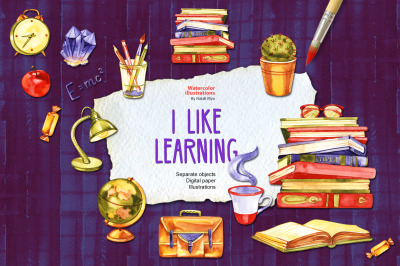 I like learning - watercolor set