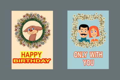 Illustrations for the design of greeting cards and posters.