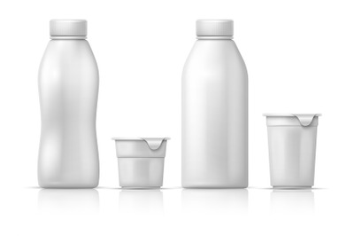 White blank round plastic yogurt can, container and bottles. Vector pa