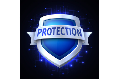 Protection shield vector icon for various safety concept