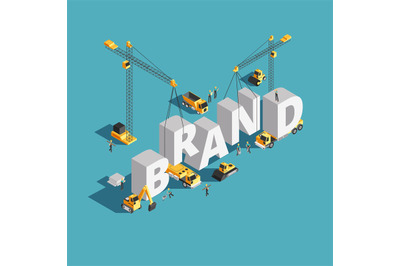 Brand building construction 3d isometric vector concept with construct