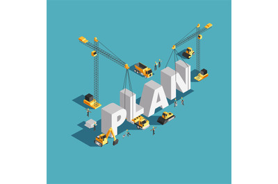 Business plan creation 3d isometric vector concept with workers and co