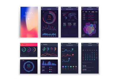 Mobile application UI and Smartphone UX vector templates with charts a