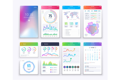 Smartphone UI. Mobile vector graphic ui and ux design, apps digital li