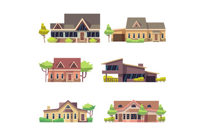Private residential cottage houses icons. Colored flat vector illustra