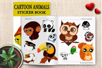 Cute cartoon animals with big eyes. Children love. Vector