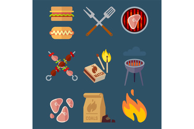 Set of flat barbeque icons for web. Camping vector illustration isolat
