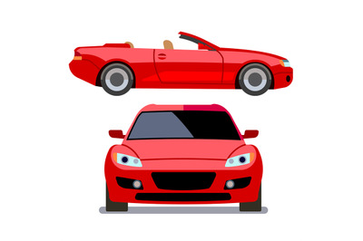 Vector flat-style cars in different views. Red cabriolet