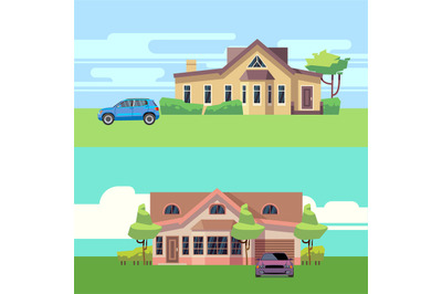 Vector horizontal banners with houses with cars. Flat vector illustrat
