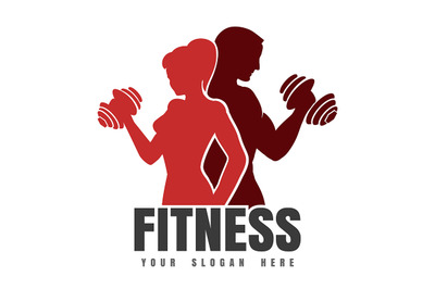 Fitness Emblem with Silhouettes of Athletic Man and Woman