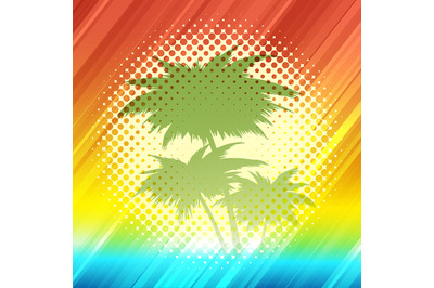 Summer Tropical Background in Retro Style