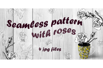 Seamless pattern with roses. Bright version