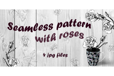 Seamless pattern with roses. Dark version
