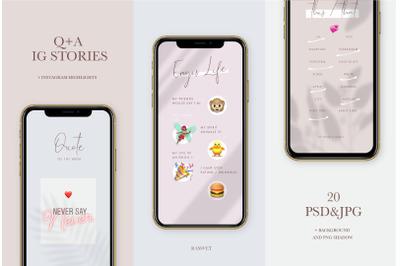 Q+A Instagram Stories Game Templates, Stories, Modern Social Media Tem