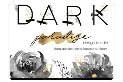 Dark Paradise - Watercolor Black and Gold Design Bundle