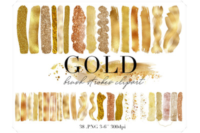 Gold Brush Strokes Clipart