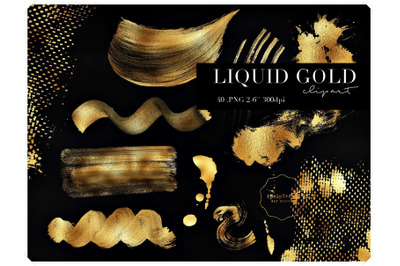 Gold Paint Strokes Clipart - Liquid Gold