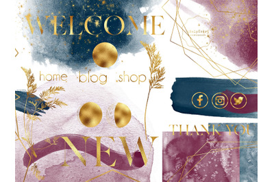 Navy and Burgundy Watercolor Design Bundle