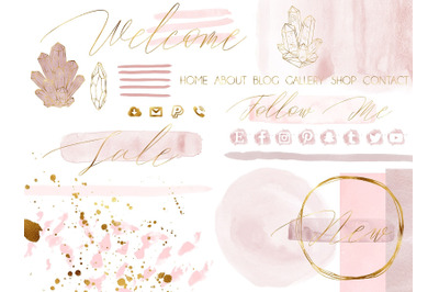 Blush Pink Watercolor and Gold Design Kit