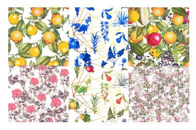 Fruits and flowers, vintage elegant patterns set