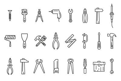Line art icons tool set