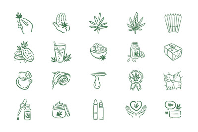 Medical cannabis icons set