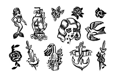 Old school tattoo illustration set.