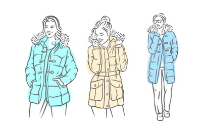 Woman in jacket illustration