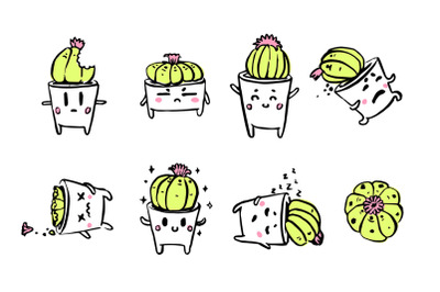 Cute cacti character emotions set.