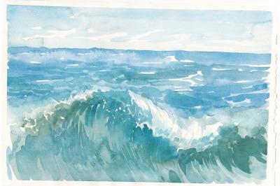 Watercolor sea waves illustration. Sea background.
