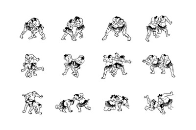 Sumo man wrestlers fight icons set