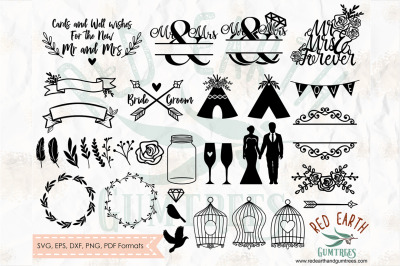 Big wedding elements bundle, cards and well wishes  SVG, PNG, EPS, DXF