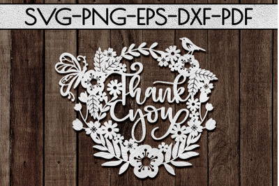 Thank You 7 Papercut Template, Appreciation Wreath SVG, PDF
