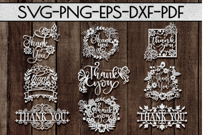 Thank You Papercut Templates Bundle, Laser Vector SVG, PDF