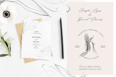 Wedding Graphic Logo & Pencil Flower