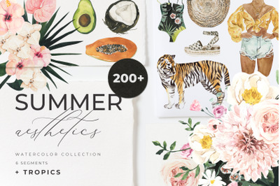 Summer Aesthetics watercolor essentials clipart collection + tropical