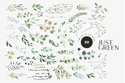 Just green - watercolor greenery, leaves, foliage