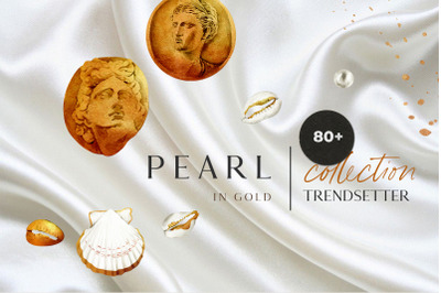 Pearl in gold - shell trend watercolor collection