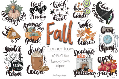 Fall Planner Icons Clipart Kit