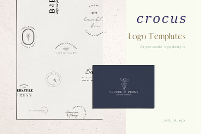 Crocus, Pre-made logo Set of 24 logos