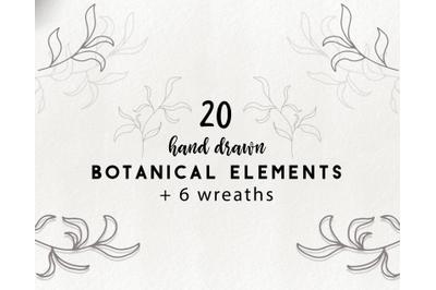 Hand drawn botanical elements - doodle leaves clipart, floral graphics